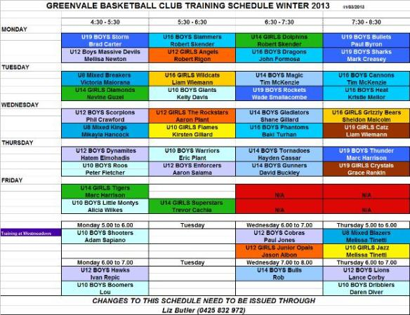 Training Schedule Winter 2013
