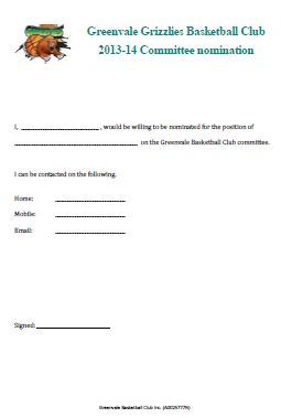 2013 nomination form