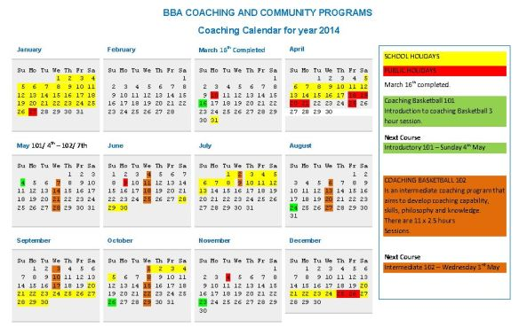 BBA coaching calendar 2014