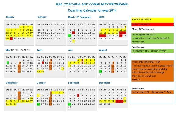 BBA coaching calendar 2014