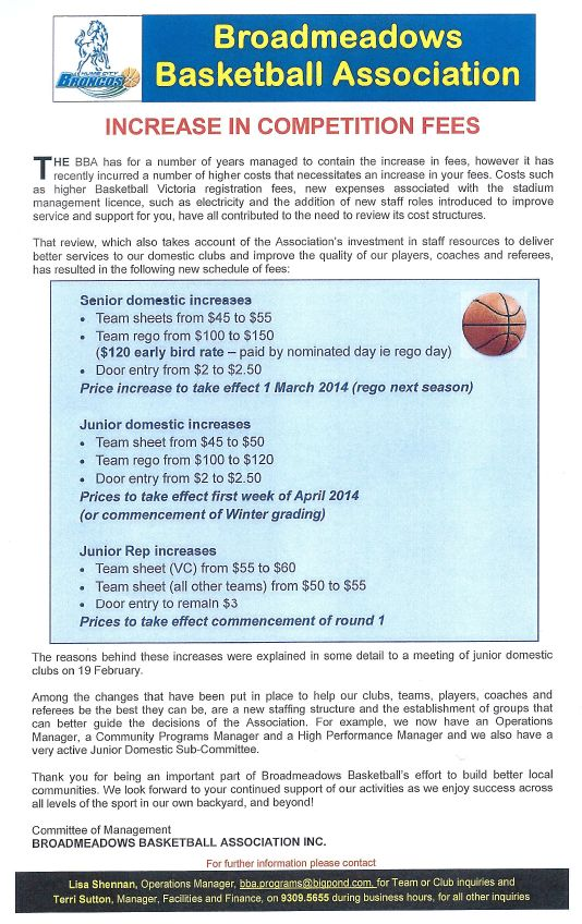 BBA increase in fees - 2014