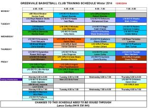 Training schedule Winter 2014 - May 18