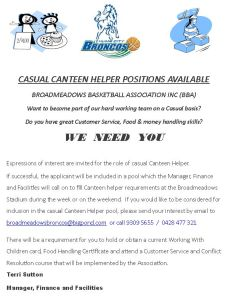 Canteen helper ad