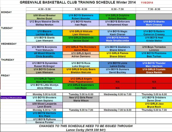 Training schedule - June 2014