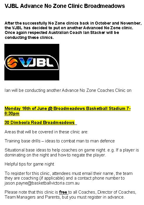 VJBL No Zone coaching clinic