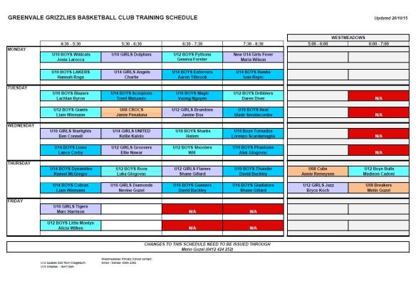 Training schedule - October 2015